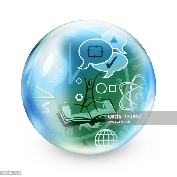 knowledge sphere - support icon stock photos and pictures