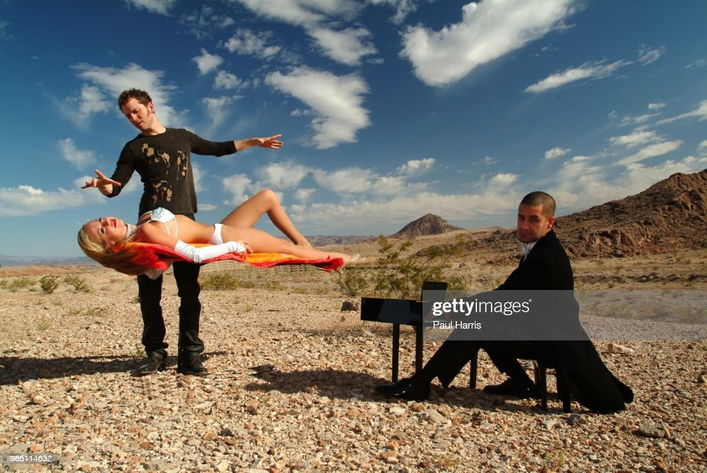 Known as Jarrett and Raja, a Las Vegas magician Jarrett Parker and a Juilliard-trained concert pianist Raja Rahman clash in show that celebrates great music and grand illusion, photographed July 2, 2004 in the desert, Las Vegas, Nevada