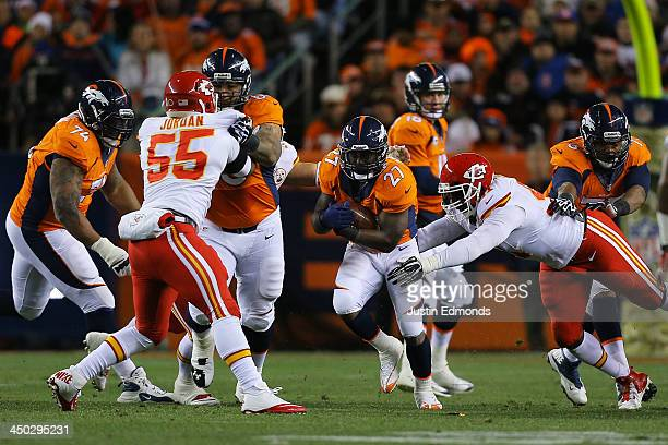 Knowshon Moreno of the Denver Broncos carries the ball for 4 yards in the first quarter against the Kansas City Chiefs at Sports Authority Field at...