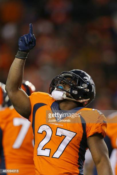 Knowshon Moreno of the Denver Broncos celebrates his fourth quarter touchdown against the San Diego Chargers during the AFC Divisional Playoff Game...