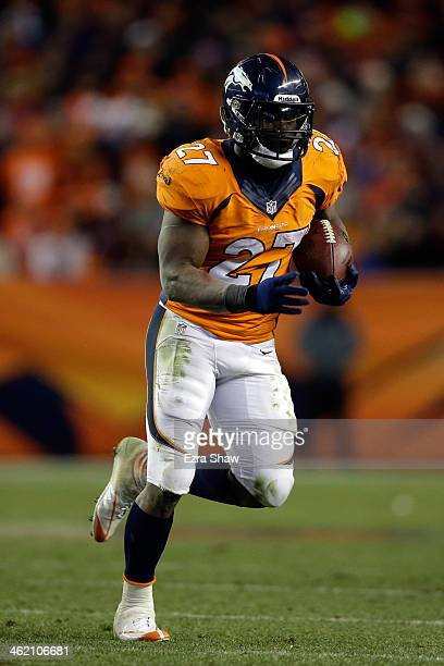 Knowshon Moreno of the Denver Broncos runs the ball against the San Diego Chargers during the AFC Divisional Playoff Game at Sports Authority Field...