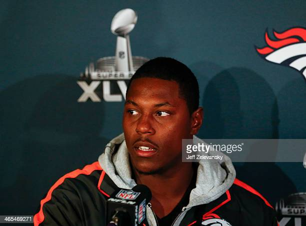 Knowshon Moreno of the Denver Broncos speaks to the media during Super Bowl XLVIII media availability January 27 2014 in Jersey City New Jersey The...