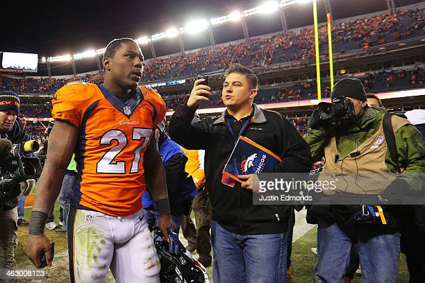 Knowshon Moreno of the Denver Broncos walks off of the field after their 24 to 17 win over the San Diego Chargers during the AFC Divisional Playoff...