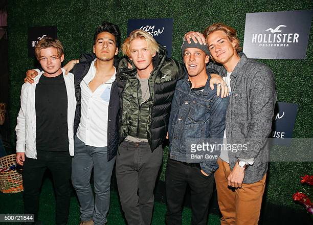 Knox Harris Adrian CotaCody Simpson Jake Kelley and Corey Harper attend the Hollister Holiday Carnival at The Roxy Theatre on December 9 2015 in West...