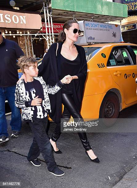 Knox JoliePitt and Angelina Jolie arrive to Broadway musical Hamilton at Richard Rodgers Theatre on June 19 2016 in New York City