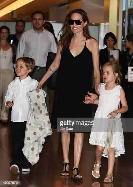 Knox JoliePitt Angelina Jolie and Vivienne JoliePitt are seen upon arrival at Haneda Airport on June 21 2014 in Tokyo Japan