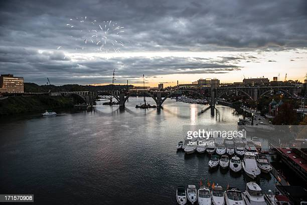 Knoxville fireworks over Tennessee River