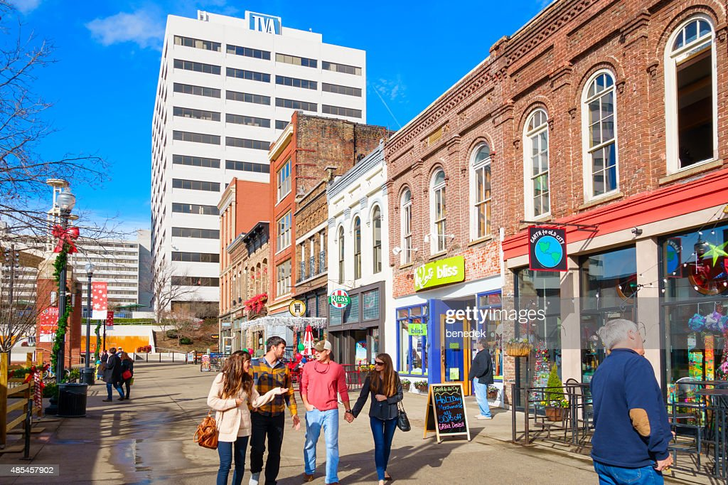 Knoxville Tennessee Downtown People Walk at Market Square : Stock Photo
