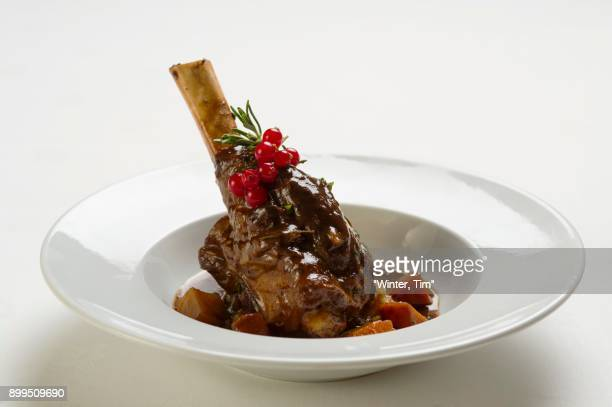 Knuckle of lamb with redcurrants