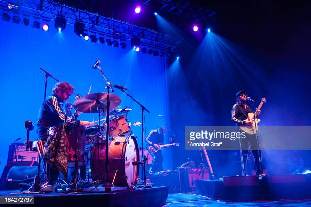 Knuckles and Mark Oliver Everett of Eels perform on stage at Brixton Academy on March 21 2013 in London England