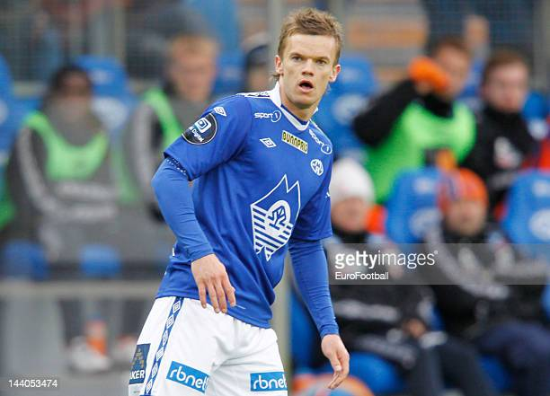 Knut Olav Rindaroy of Molde FK in action during the Norwegian Tippeligaen match between Molde FK and Aalesunds FK held on May 6 2012 at the Aker...