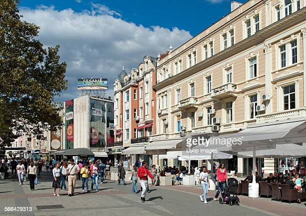 Knyaz Alexandar I pedestrian street in Plovdiv which is the second largest city in Bulgaria