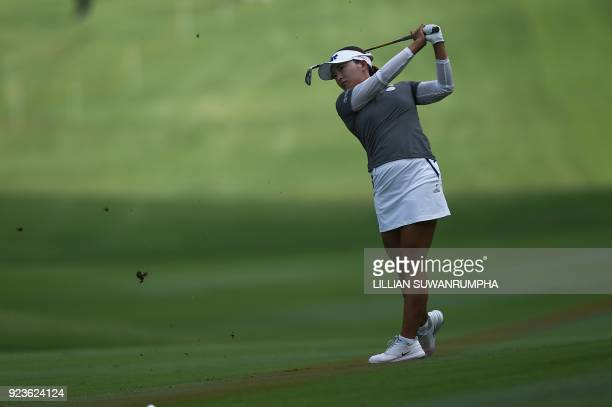 Ko Jinyoung of South Korea hits a shot during the Honda LPGA golf tournament at the Siam Country Club in the coastal Thai province of Chonburi on...