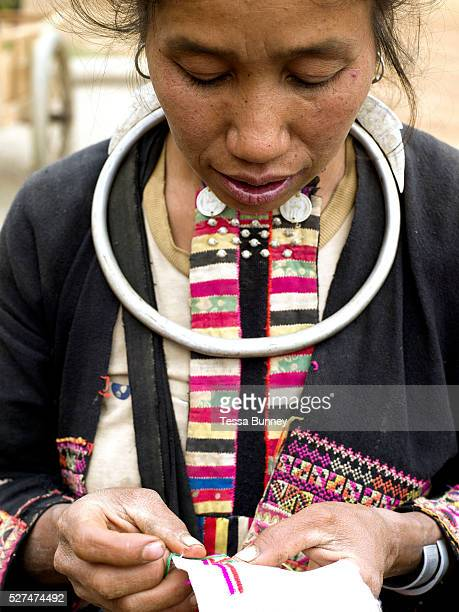 A Ko Pala ethnic minority woman sews traditional clothing at Pak Nam Noi market Phongsaly province Lao PDR One of the most ethnically diverse...