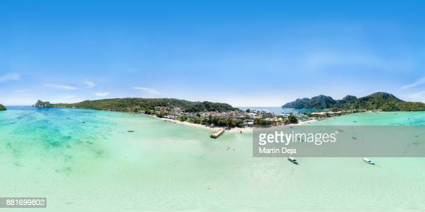 ko phi phi don 360° hdr aerial panorama - image stock pictures, royalty-free photos & images