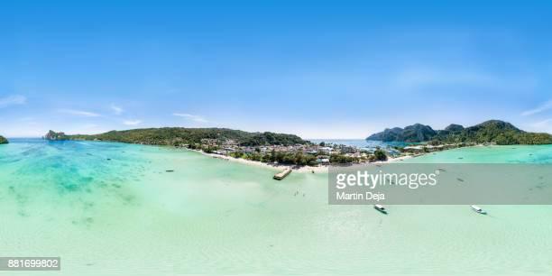 ko phi phi don 360° hdr aerial panorama - high dynamic range imaging stock pictures, royalty-free photos & images