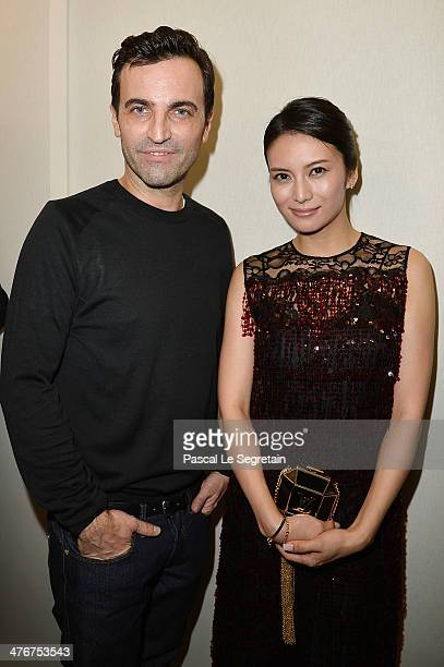 Ko Shibasaki and designer Nicolas Ghesquiere pose backstage after the Louis Vuitton show as part of the Paris Fashion Week Womenswear Fall/Winter...