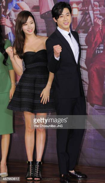 Ko SungHee and UKnow of TVXQ attend the drama 'The Night Watchman' press conference at 63 Square on July 29 2014 in Seoul South Korea