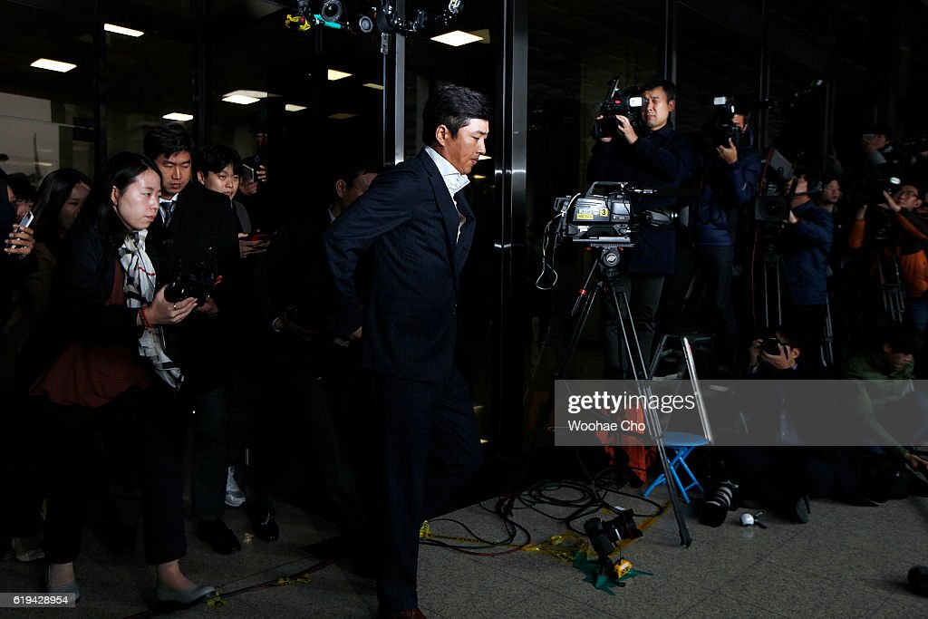 Ko Young-tae speaks to members of the media at the prosecutor's office where he appeared in connection with the alledged influence-peddling scandal involving Choi Soon-sil on October 31, 2016 in Seoul, South Korea. Choi Soon-sil, a confidant of South Korean President Park Geun-hye, is suspected of interfering in state affairs
