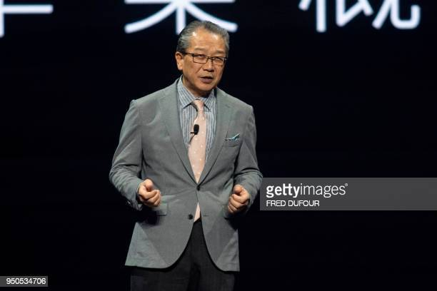 Kobayashi Chihiro chairman and general manager of Toyota China speaks during a launch ceremony in Beijing on April 24 2018 on the eve of the Beijing...