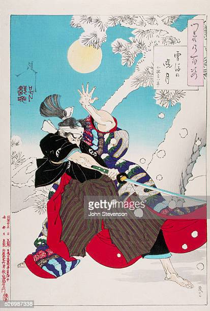 Kobayashi Heihachiro defends his master the evil Lord Kira against the attack of the fortyseven ronin a scene from the Kabuki play Chushingura which...