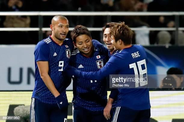 Kobayashi Yu of Japan celebrates scoring during the EAFF E1 Men's Football Championship match between Japan and China at Ajinomoto Stadium on...