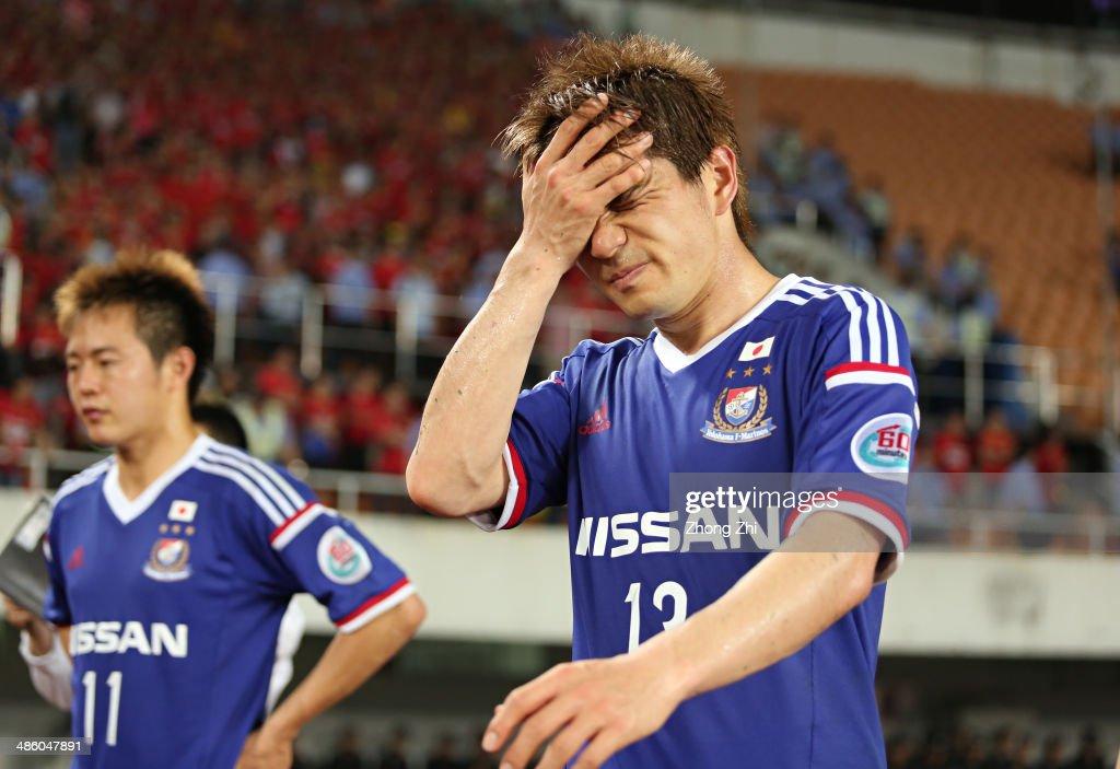 Kobayashi Yuzo of Yokohama F. Marinos reacts after losing the AFC Asian Champions League match between Guangzhou Evergrande and Yokohama F. Marinos at Tianhe Sports Center on April 22, 2014 in Guangzhou, China.