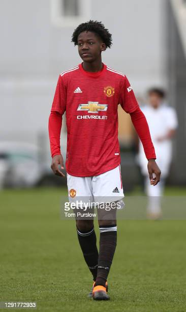 Kobbie Mainoo of Manchester United U18s in action during the U18 Premier League match between Manchester United U18s and Leeds United U18s at Aon...