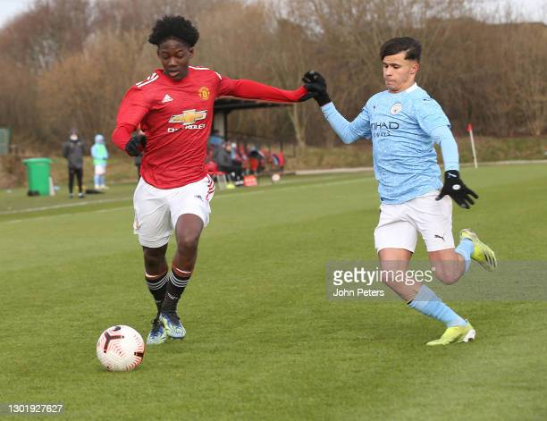 Kobbie Mainoo of Manchester United U18s in action during the U18 Premier League match between Manchester United U18s and Manchester City U18s at Aon...
