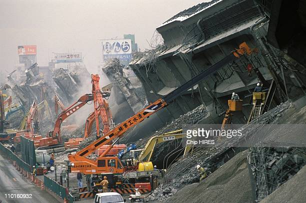 Kobe after the earthquake in Japan in January 1995