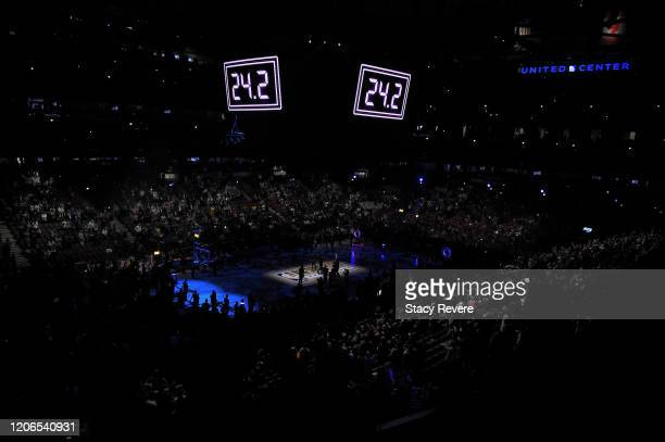 Kobe and Gianna Bryant are honored before the 2020 NBA AllStar Taco Bell Skills Challenge during State Farm AllStar Saturday Night at the United...