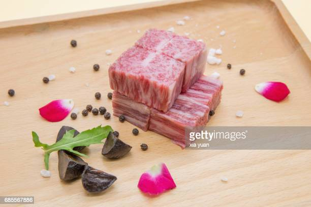 Kobe beef and black garlic