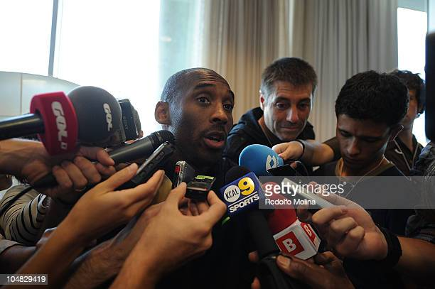 Kobe Bryant #24 of LA Lakers attends to journalists at Palau Blaugrana on October 5 2010 in Barcelona Spain