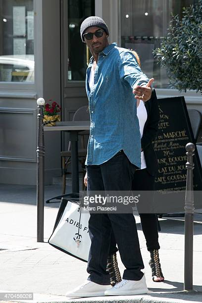 Kobe Bryant 24 of the 'Los Angeles Lakers' and his wife Vanessa Laine Bryant are seen leaving the 'Maison de la Truffe' restaurant on April 20 2015...