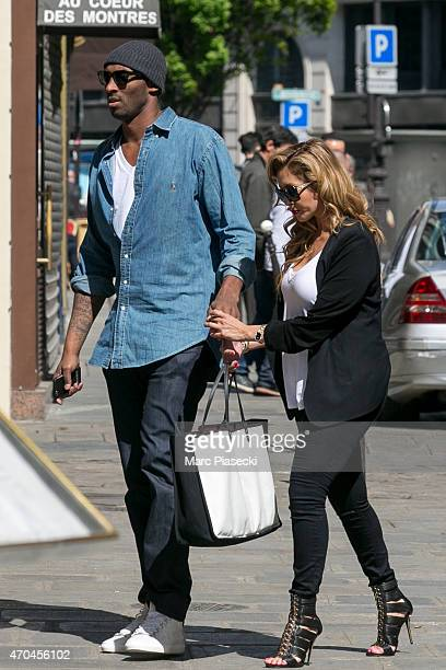 Kobe Bryant 24 of the 'Los Angeles Lakers' and his wife Vanessa Laine Bryant arrive at the 'Christian Louboutin' mens shoes store on April 20 2015 in...