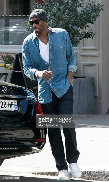 Kobe Bryant 24 of the 'Los Angeles Lakers' is seen leaving the 'Maison de la Truffe' restaurant on April 20 2015 in Paris France