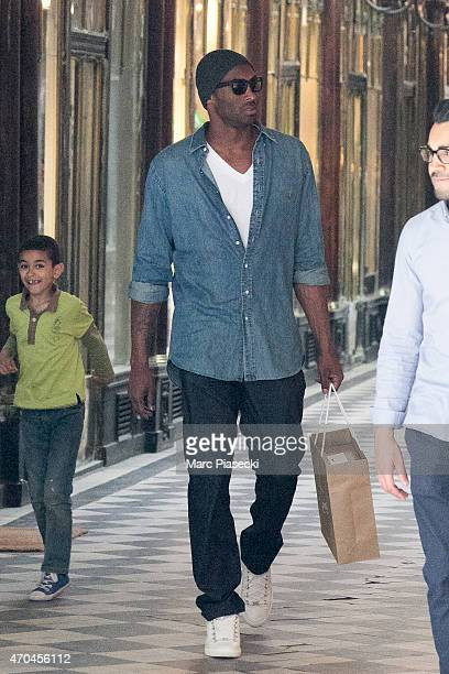 Kobe Bryant 24 of the 'Los Angeles Lakers' leaves the 'Christian Louboutin' store on April 20 2015 in Paris France