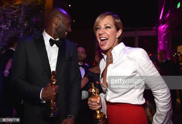 Kobe Bryant and Allison Janney attend the 2018 Vanity Fair Oscar Party hosted by Radhika Jones at Wallis Annenberg Center for the Performing Arts on...