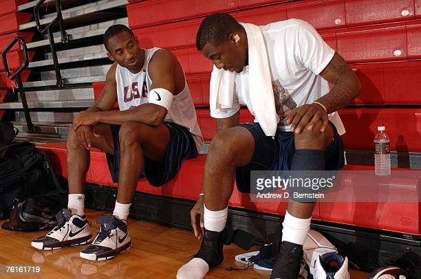 Kobe Bryant and Amare Stoudemire of the USA Basketball Men's Senior National Team gets ready for practice during training camp on August 17 2007 at...
