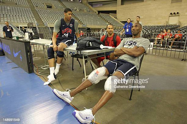 Kobe Bryant and Anthony Davis of the US Men's Senior National team are talking after practice at Palau Sant Jordi II arena in Barcelona Spain on July...