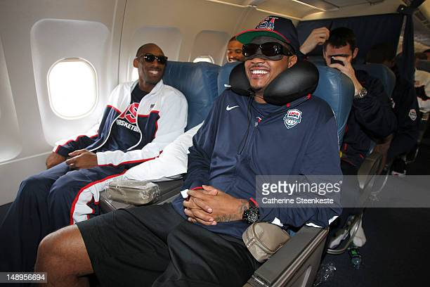 Kobe Bryant and Carmelo Anthony of the US Men's National team are leaving Manchester to fly to Barcelona Spain on July 20 2012 at Manchester Airport...