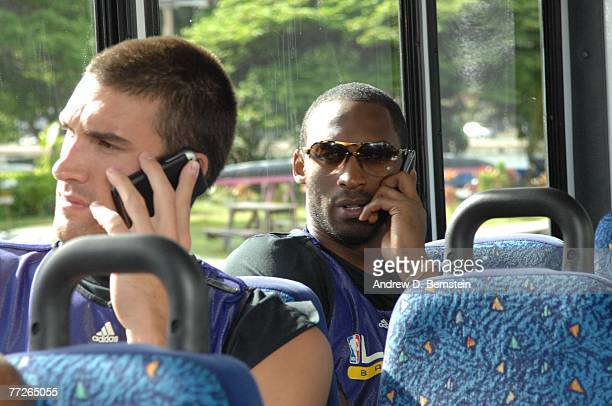 Kobe Bryant and Chris Mihm of the Los Angeles Lakers on the bus to practice on October 10, 2007 at the Stan Sheriff Center in Honolulu, Hawaii. NOTE...