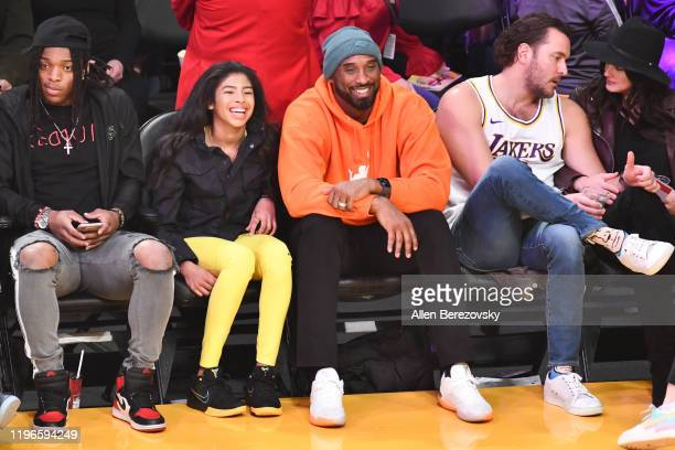 Kobe Bryant and daughter Gianna Bryant attend a basketball game between the Los Angeles Lakers and the Dallas Mavericks at Staples Center on December...