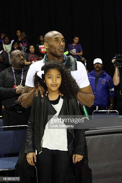 Kobe Bryant and daughter Natalia Bryant attend the 2013 NBA AllStar Celebrity Game at George R Brown Convention Center on February 15 2013 in Houston...