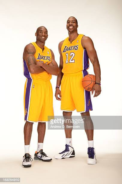Kobe Bryant and Dwight Howard of the Los Angeles Lakers poses for a photo during Media Day at Toyota Sports Center on October 1 2012 in El Segundo...