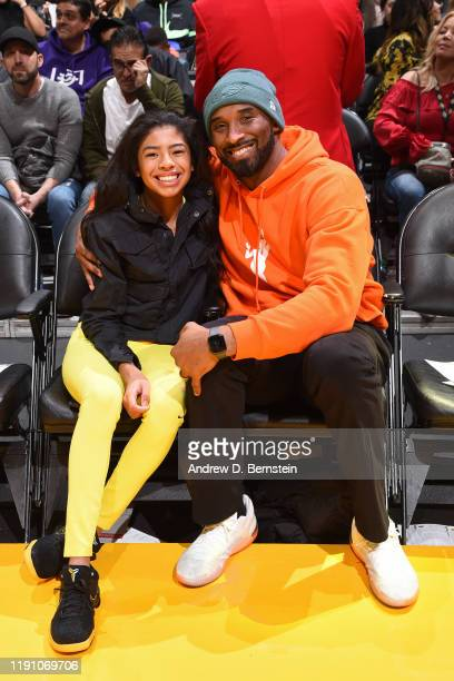 Kobe Bryant and Gianna Bryant attend the game between the Los Angeles Lakers and the Dallas Mavericks on December 29 2019 at STAPLES Center in Los...