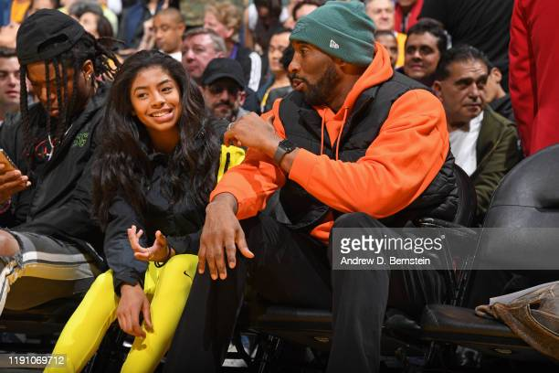 Kobe Bryant and Gianna Bryant attend the game between the Los Angeles Lakers and the Dallas Mavericks on December 29, 2019 at STAPLES Center in Los...