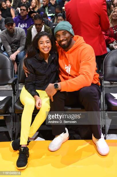 Kobe Bryant and Gianna Bryant attends the game between the Los Angeles Lakers and the Dallas Mavericks on December 29 2019 at STAPLES Center in Los...