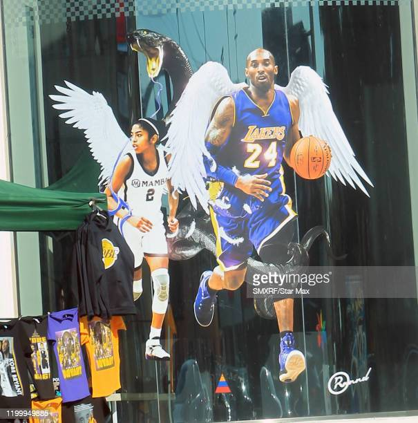 Kobe Bryant and Gigi Bryant Tribute is seen on February 10 2020 in Los Angeles California