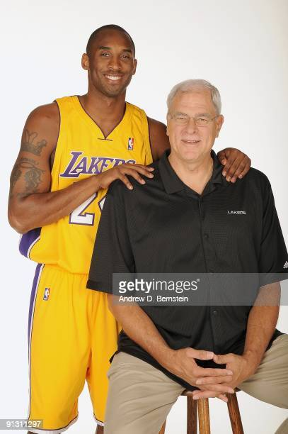 Kobe Bryant and Head Coach Phil Jackson of the Los Angeles Lakers pose for a portrait during 2009 NBA Media Day on September 29 2009 at Toyota Sports...